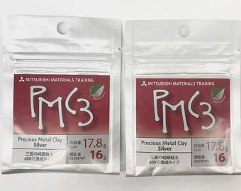 2 pcs set PMC3 16g (Silver weight), Silver Precious Metal Clay