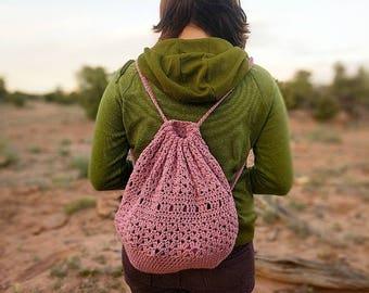 Boho Bucket Bag / Crochet Backpack with color options / Boho Crochet