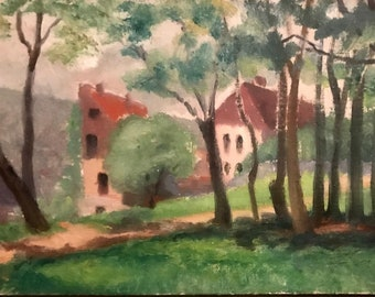 Farmhouses in Northern France (antique oil painting)