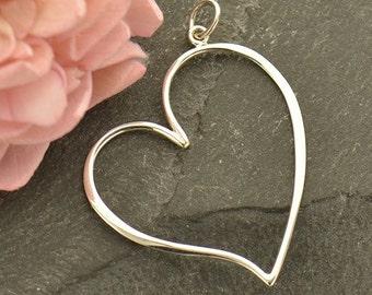 Sterling Silver Large Open Heart Pendant