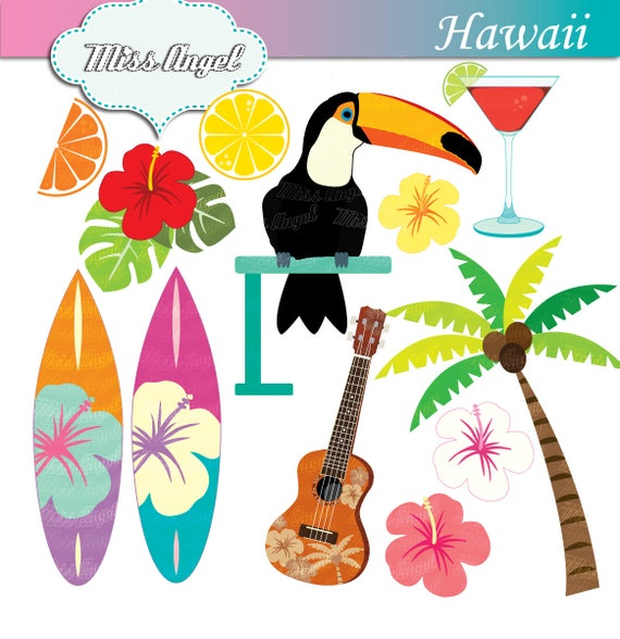 Hawaii Surf Clipart Toucan 12 Scrapbooking Images Colorful Beach 6 Printable Hibiscus Ukulele Cocktail ByMissAngelClipArt From