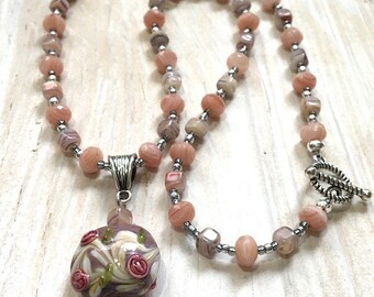 Lamp Work Bead and Gemstone Pendant Necklace