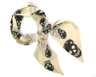 Skull Scarf, Head Scarf, Purse Scarf, Hair Accessories, Hair Scarf, Women Scarf, Teen Gift, Under 20 Dollars, Friend Gift, Ready to Ship