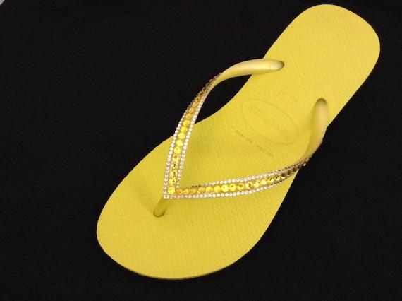 Yellow Havaianas flat Slim flip flops Custom Neon Citrine w/ Swarovski Crystal Rhinestone Jewels Sophisticate Beach Wedding Bridal flat Shoe