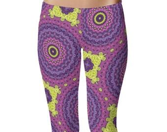 Funky Leggings, Wild Leggings, Fun Hippie Yoga Pants Pink Purple Yellow Mandala Art Leggings Tights