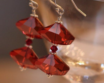 Red Swarovski Crystal Earrings - Crimson Crystal Earrings - Sparkly Red Earrings - Red Dangle Earrings - Swarovski Crystal Earrings