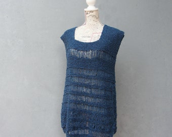Knitted Blue Tunic Tank Top, Bohemian Top Size Large US size 12 EU size 42