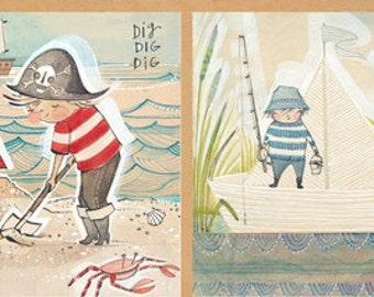 SALE The Adventurers Panel by Cori Dantini for Blend Fabrics - 1 Yard -  Boy Fabric - Pirates Fabric - Quilt Fabric - Boy Nursery Fabric