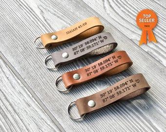 Custom leather keychain, Latitude longitude keychain, mens gift, coordinates keychain, custom keychain, anniversary, wedding, personalized