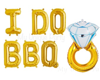 """I DO BBQ Letter Balloons Air Fill only / Large 32"""" Gold Ring Balloon Helium Quality Engagement Party Bridal Shower I Do Bbq Banner"""