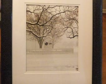 Framed photo Historic Old New Castle DE Frenchtown Railroad Ticket Office Battery Park Delaware Christmas