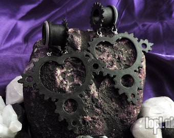 "Black Fractal Mandelbrot Tunnel Plugs Ear Weights Hangies PLA 1/2"", 9/16"", 5/8"", 11/16"" / 12mm, 13mm, 14mm, 16mm, 18mm"