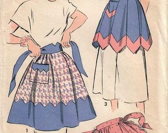 1940s Advance 4998 Vintage Sewing Pattern Misses Half Apron, Tea Apron, Hostess Apron, Scalloped Apron Size Medium