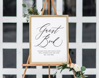 Wedding Guest Book Sign | Guest Book Wedding Sign Printable | Printable Wedding Sign | Guest Book Wedding Signage | 8x10 & 5x7 Sizes