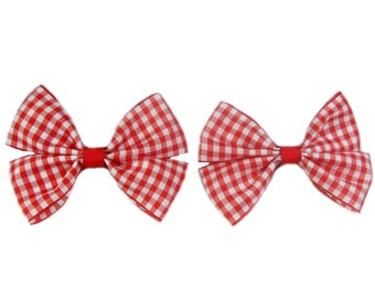 Gingham Hair Bow, Back to School Hair Bow, Girls Hair Bow, Red and White Gingham Hair Bow Clip, Girls Hairbow
