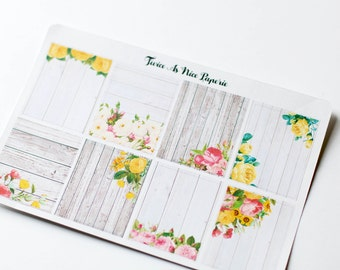 Rustic Floral Full Box Planner Stickers- Set of 8