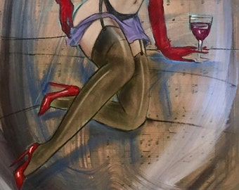 RED WINE and STOCKINGS Original Painting 8.5x11 Nude Deco Nylons and Garters Pin-up Modern Art Mid Century pinup Vanguard Gallery Collection