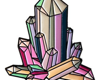 "Quartz Crystal Cluster 1.25"" Enamel Pin"