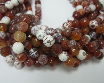 37 pcs 10mm faceted fire agate round beads