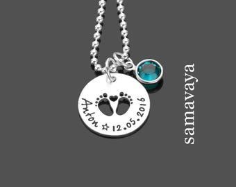 Cadeau à la naissance des bijoux pour première étapes 925 argent nom collier enfants