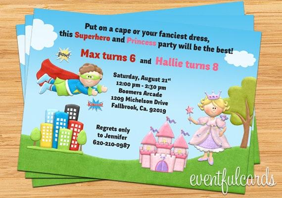Princess superhero birthday party invitations selol ink princess superhero birthday party invitations stopboris Images