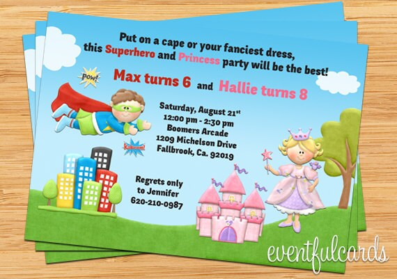 Kids superhero and princess joint birthday party invitation zoom filmwisefo