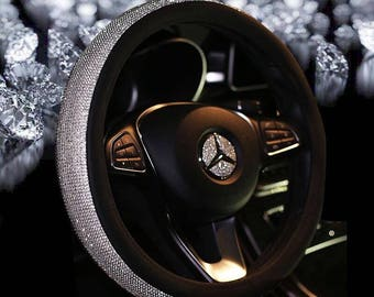 Super Lovely Luxury Fancy Bling Diamond Crystal Rhinestone Car Steering Wheel 38CM Cover W