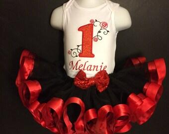 Rose Birthday Tutu Outfit - Ribbon Trimmed Tutu Set - Birthday Tutu - Tutu Set - Personalized