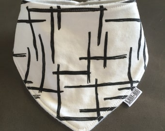 ORGANIC COTTON / Bamboo Fleece Dribble Bib, Abstract Sticks