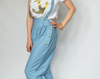 Swing trousers Vintage trousers Suspenders Chambray trousers Swing pants Chambray slacks 40s slacks Pin up Wide leg trousers 40s style pants