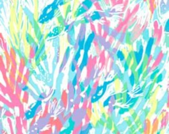 Fabric squares and pieces 6 X 6, 9 X 18 or 18 X 18 inches Multi Sparkling Sands / pieces ~Authentic Lilly Pulitzer~