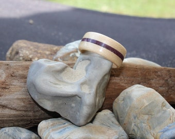Maple With Purple Stripe Bentwood Ring