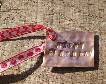 Copper Gift Tag. Beaten Copper. Personalised.  7th Wedding Anniversary, Birthday, Christmas. Choose your message.