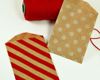 "12 Small Kraft Paper Bags . Red Diagonal Stripe & White Polka Dots . 2.75"" x 4"" for Favors, Candy, Gift Wrap, Packaging"