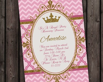 princess invitation pink gold and mint teal royal princess