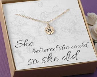 Compass Necklace - Marathon, Mile Stone, New Job, Graduation Gift - Gold Compass Charm