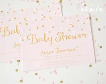 Gold and Pink Baby Shower INVITATION - Printable - Printed -  DIY Glitter Baby Shower // BS -01
