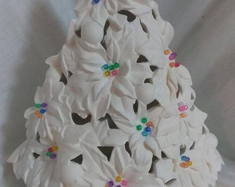 """Poinsettia Christmas Tree 14 1/2"""" with Light Kit Ceramic Bisque ready to paint"""