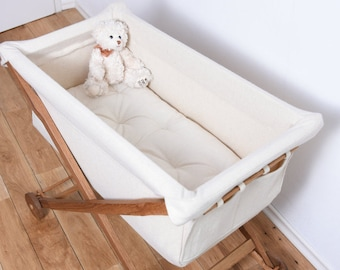 KootaCradle entirely of Solid Oak Wood and Lambswool /  Wool Mattress included