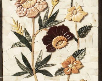 Prehistoric Floral Stone Art Mosaic