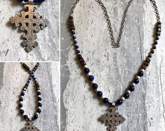 Coptic Pewter Cross & Lapis Lazuli