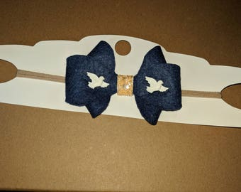 Midnight blue dove Frenchie bow
