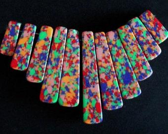 11pc - 16-43mm Smooth Multicolor Turquoise Drop Stick Pendant Charm Bead Focal Set UNIQUE