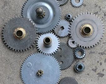Vintage clock brass gears -- set of 14 -- D11