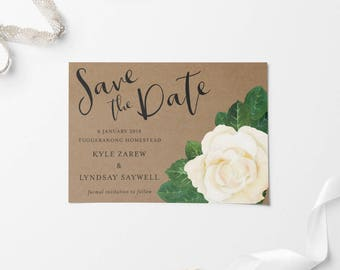 Save The Date, Printable Save The Date, Custom Printable Save The Date, Floral Save The Date, Rustic Save The Date, Rustic Wedding Card