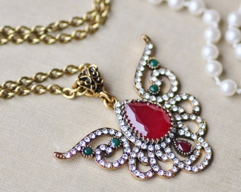 NEW Ruby Red Green Crystal Rhinestone Pendant,Ornate Antique Gold Crystal Pendant Necklace,Vintage Style,Filigree Jeweled Necklace,Gift