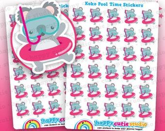 30 Cute Koko the Koala Pooltime/Holiday/Vacation/Break Planner Stickers, Filofax, Erin Condren, Happy Planner, Kawaii, Cute Sticker, UK