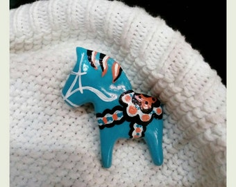 Valentines gift Dala horse inspired pin Scandinavian brooch Hand painted jewelry Swedish horse