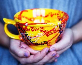 Orange mug Pottery mug Blue cup Ceramic cup Tea cup Coffee Mugs pottery mug Ceramic mug Colorful mug Pottery cup Large wedding gift