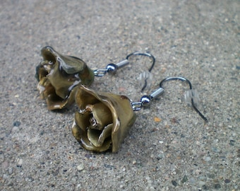 Free Shipping REAL Grey ROSE BUD Gun Metal Dangle French Hook Earrings